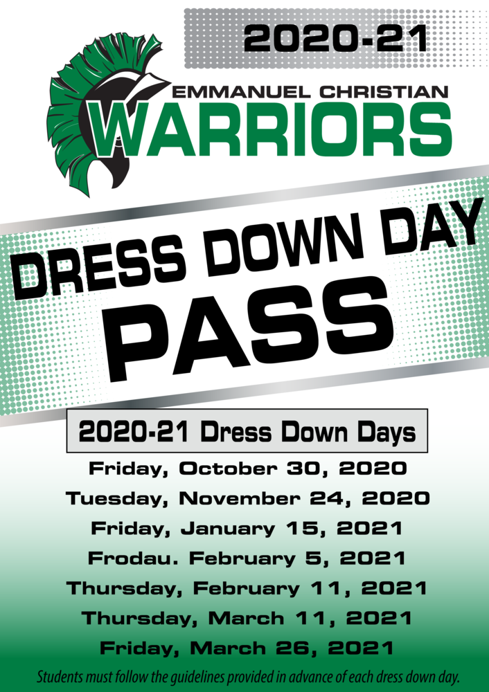 2020-21 Dress Down Day Pass