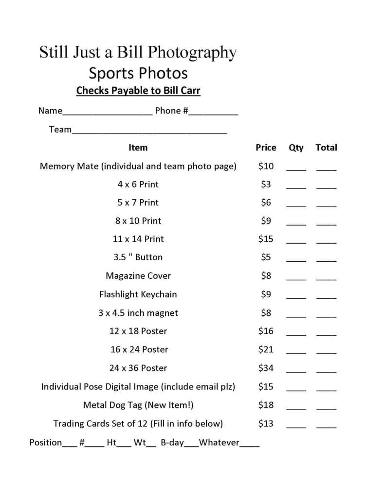 Littles Pictures Price Sheet