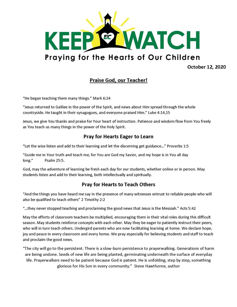 Keep Watch Prayer Focus 10-12-2020