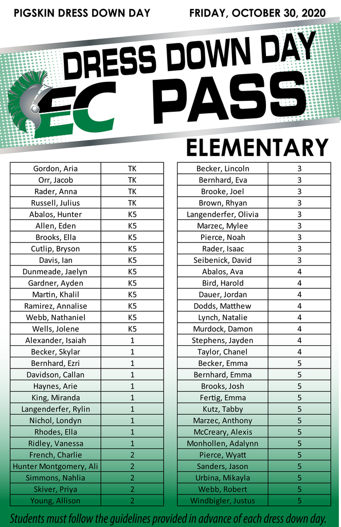 Elementary Dress Down Day passes