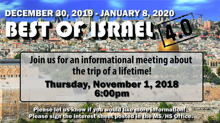 Israel Trip meeting
