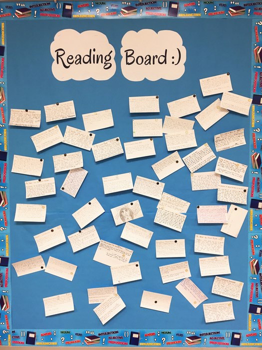 Students complete a notecard summary and review of the books they read and post them on the Reading Board as recommendations for other students!