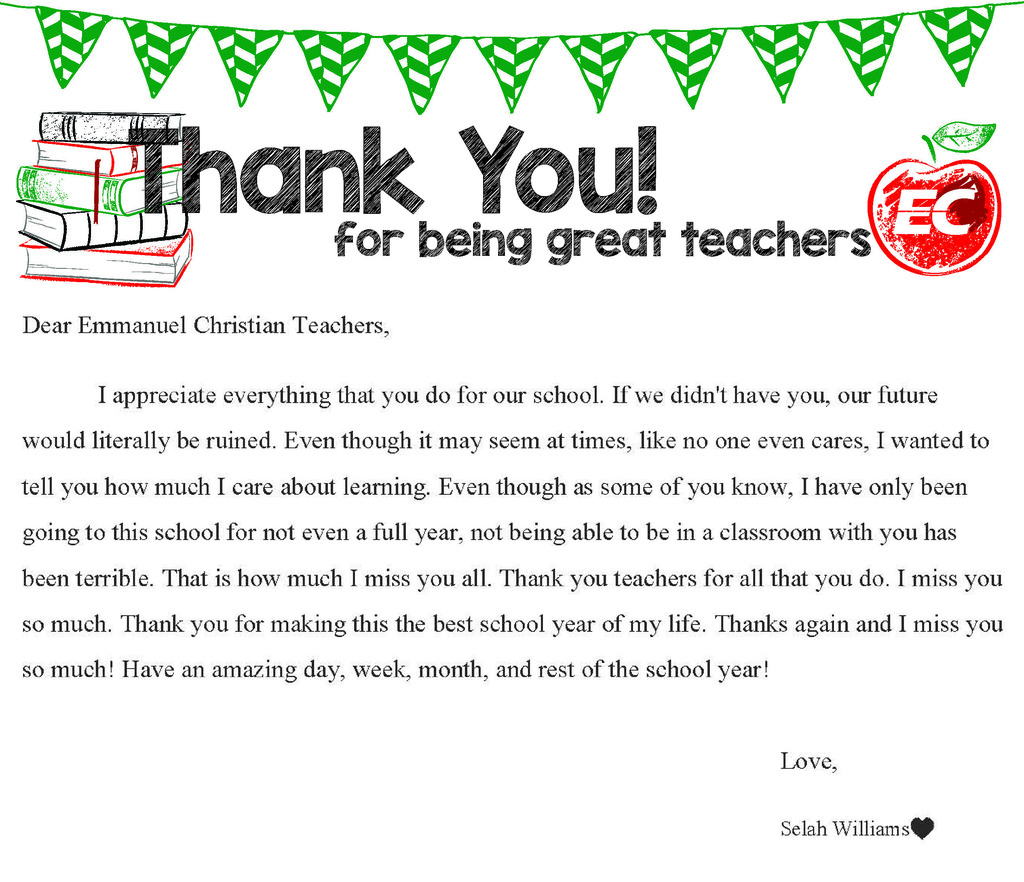 Selah Williams - Teacher Appreciation