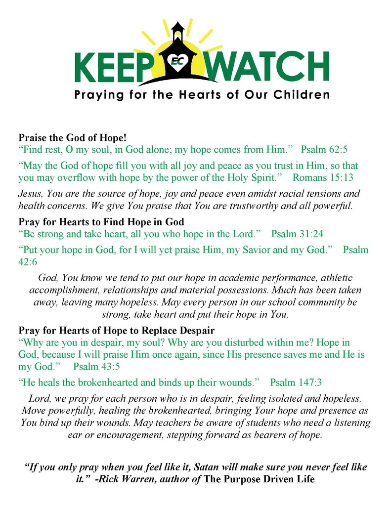 Keep Watch Prayer Focus - 8-31-20