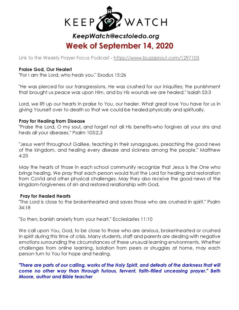 Keep Watch Prayer Focus 9-14-20