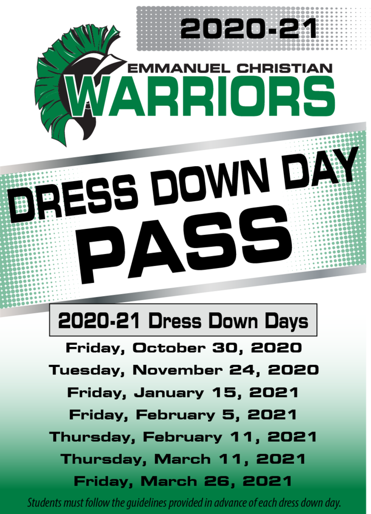 Annual Dress Down Day Pass
